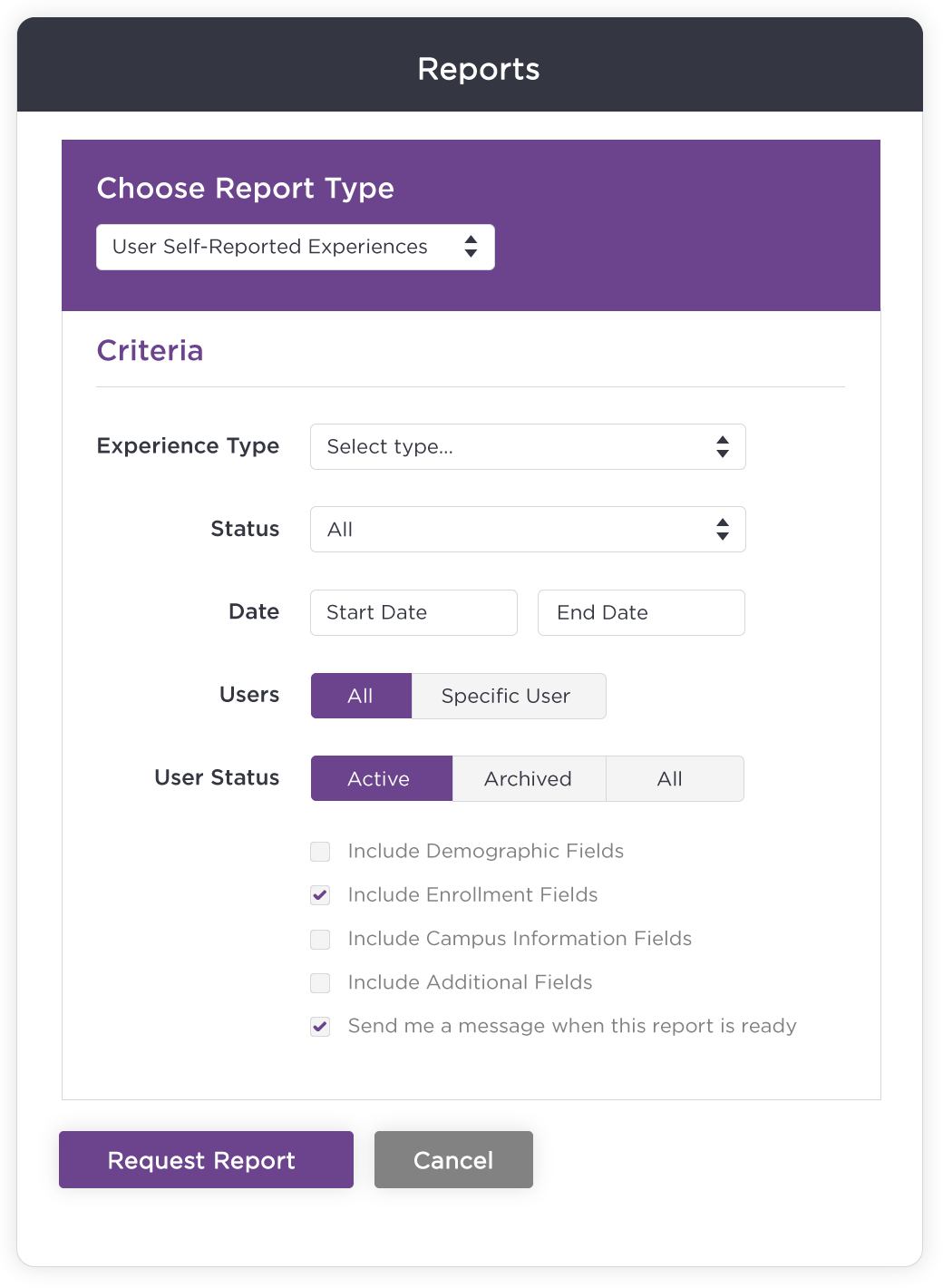 Report Criteria Example Screenshot